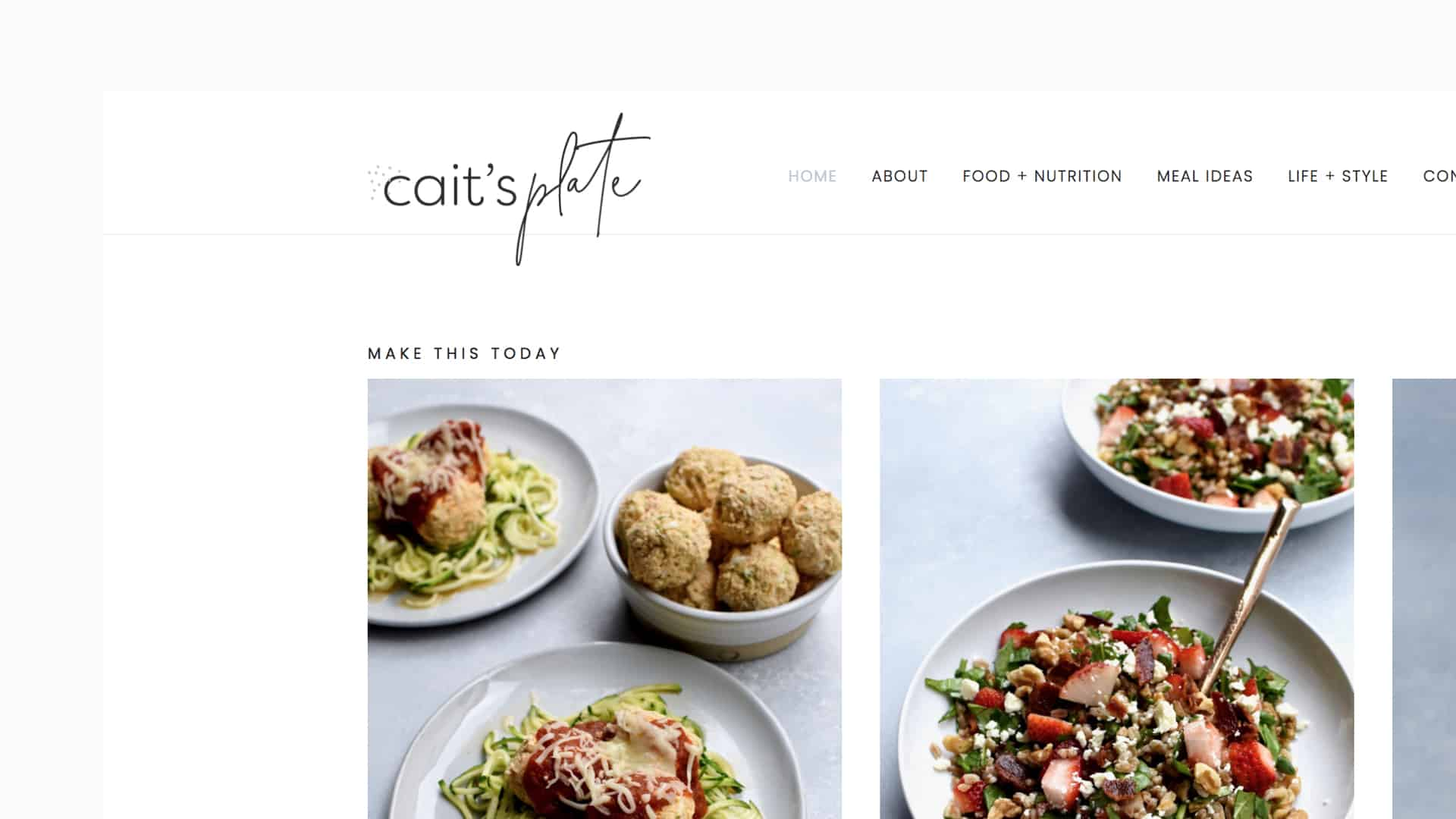 Cait's Plate blog redesign - above the fold